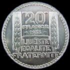 Photo numismatique  Monnaies Monnaies Françaises Troisième République 20 Francs 20 francs Turin 1933 rameaux courts, G.852 SUPERBE+