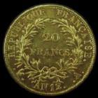 Photo numismatique  Monnaies Monnaies Française en or 1er Empire 20 Francs or NAPOLEON Ier, 20 francs or AN 12 A Paris, or 900°/°° 6,45 grms, G.1021 Bon TTB+ Beaux restes de brillant d'origine!!