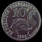 Photo numismatique  Monnaies Monnaies Françaises Cinquième république 10 francs Jimenez 10 francs Jimenez 1986, le Finistère touchant le listel, G.824 SUPERBE R!