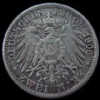 Photo numismatique  Monnaies Allemagne après 1871 Allemagne, Deutschland, Baden, Bade 2 mark, Zwei mark BADEN, 2 Mark Friedrich et Luise 1906, J.34 TTB+