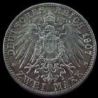 Photo numismatique  Monnaies Allemagne après 1871 Allemagne, Deutschland, Baden, Bade 2 mark, Zwei mark BADEN, 2 mark Friedrich 1907 G, J.32 TTB+/SUPERBE