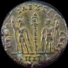 Photo numismatique  Monnaies Empire Romain DELMACE, DELMATIUS, DELMATIO Follis, folles,  DELMACE, DELMATIUS, follis Alexandrie en 336-337, Gloria Exercitus, 1,61 grms, RIC.69 TTB