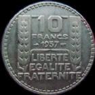 Photo numismatique  Monnaies Monnaies Françaises Troisième République 10 Francs 10 Francs Turin argent 1937, G.801 TB+/TTB Rare!