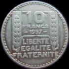 Photo numismatique  Monnaies Monnaies Françaises Troisième République 10 Francs 10 francs Turin argent 1937, G.801 TTB+ Rare, restes de brillant d'origine!