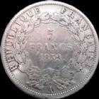 Photo numismatique  Monnaies Monnaies Françaises Second Empire 5 Francs Louis Napoléon Bonaparte, 5 francs 1852 A Paris, variété tête large, G.726 TB