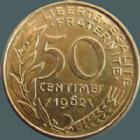 Photo numismatique  Monnaies Monnaies Françaises Cinquième république 50 Centimes 50 centimes Lagriffoul 1962 col à 3 plis, G.427 TTB à SUPERBE