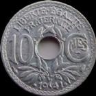 Photo numismatique  Monnaies Monnaies Françaises Etat Français 10 Centimes 10 centimes zinc 1941, points et cts souligné, G.288c SUPERBE+