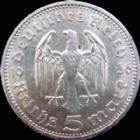 Photo numismatique  Monnaies Allemagne après 1871 allemagne, deutschland, germany, dritte reich, 3 em reich 5 Mark Allemagne, Deutschland, 3e Reich, Dritte Reich, 5 mark Hindenburg 1936 A, J.360 TTB