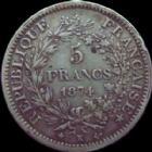 Photo numismatique  Monnaies Monnaies Françaises Troisième République 5 Francs 5 Francs Hercule 1874 K Bordeaux, G.745a TTB