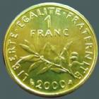 Photo numismatique  Monnaies Monnaies Françaises Cinquième république 1 franc or Semeuse de Roty 1 Franc or Semeuse de Roty 2000, or 750°/°° 8 grms, avec boitier et certificat N°845, qualité BU