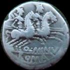 Photo numismatique  Monnaies R�publique Romaine Minucia 122 avant Jc Denier, denar, denario, denarius Q.MINUCIUS RUFUS, denier Rome en 122 avant Jc, Dioscures, 3,79 grms, SYD 421 TB � TTB