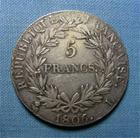 Photo numismatique  Monnaies Monnaies Françaises 1er Empire 5 Francs NAPOLEON Ier, 1806 L Bayonne, 5 francs tête nue, Gadoury 581 TTB+ belle monnaie!