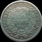 Photo numismatique  Monnaies Monnaies Françaises Deuxième République 50 Centimes 50 centimes Cérès 1850 A Paris, G.411 TTB