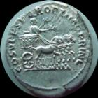 Photo numismatique  Monnaies Empire Romain TRAJAN, TRAJANUS, TRAIAN, TRAIANO Denier, denar, denario, denarius TRAJAN, TRAJANUS, denier Rome en 107-108, Quadrige, Quadriga, 3,03 grms, RIC 189 Variante Bon TTB