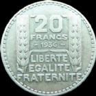 Photo numismatique  Monnaies Monnaies Françaises Troisième République 20 Francs Turin 20 Francs Turin 1936, G.852 SUPERBE avec beau restes de velours de frappe!