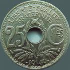 Photo numismatique  Monnaies Monnaies Françaises Troisième République 25 centimes Lindauer 25 centimes Lindauer .1940., G.381 SUPERBE
