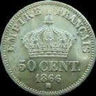 Photo numismatique  Monnaies Monnaies Françaises Second Empire 50 Centimes NAPOLEON III, 50 centimes 1866 BB Strasbourg, G.417 petit coup sinon presque SUPERBE