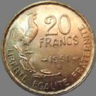 Photo numismatique  Monnaies Monnaies Françaises 4ème république 20 Francs 20 francs Guiraud 1951 B, G.865 petits coups sinon SUPERBE beau brillant d'origine !!