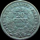 Photo numismatique  Monnaies Monnaies Françaises Deuxième République 20 Cmes 20 centimes Cérès 1850 A Paris, G.303 TB à TTB