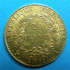 Photo numismatique  Monnaies Monnaies Françaises Consulat 20 Francs BONAPARTE PREMIER CONSUL AN 12 A Paris G.1020 TTB à SUP