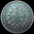 Photo numismatique  Monnaies Monnaies Françaises Troisième République 5 Francs 5 francs Hercule 1875 A, G.745 a coups sur tranche sinon bon TTB