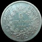 Photo numismatique  Monnaies Monnaies Françaises Deuxième République 5 Francs 5 Francs Hercule 1848 BB Strasbourg, G 683 légères traces de nettoyage sinon TTB