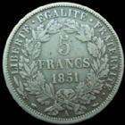Photo numismatique  Monnaies Monnaies Françaises Deuxième République 5 Francs 5 Francs Cérès E.A OUDINE 1851 A Paris, G 719 TB à TTB