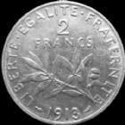 Photo numismatique  Monnaies Monnaies Françaises Troisième République 2 Francs 2 francs semeuse de Roty 1913, G.532 TTB à SUPERBE