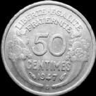 Photo numismatique  Monnaies Monnaies Françaises 4ème république 50 Centimes 50 centimes Morlon, aluminium, 1947 B, G.426b TTB+