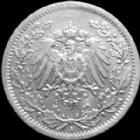 Photo numismatique  Monnaies Allemagne après 1871 Allemagne, Deutschland, Empire, Kaisereich 1/2 Mark Allemagne, Deutschland, Kaisereich, Empire, 1/2 mark 1917 A, J.16 SUPERBE