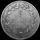 Photo numismatique  Monnaies Monnaies Fran�aises Louis Philippe 5 Francs LOUIS PHILIPPE Ier, 5 francs t�te nue 1830 A Paris, tranche en relief, 24,71 grms, G.676a TB � TTB