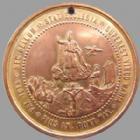 Photo numismatique  Monnaies Médailles Etrangères Vatican, papal states Medaille bronze doré VATICAN, PIE IX 1869, médaille en bronze doré de 40 mm, concile œcuménique 1869, trouée sinon TTB+