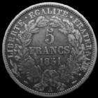 Photo numismatique  Monnaies Monnaies Françaises Deuxième République 5 Francs 5 francs Cérès 1851 A Paris, G.719 TTB