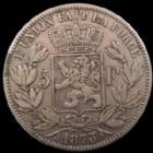 Photo numismatique  Monnaies Monnaies étrangères Belgique, Belgie, Belgien 5 Francs Belgique, Belgien, Belgie, 5 francs 1873 Léopold II, KM.24 P.TTB