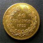 Photo numismatique  Monnaies Monnaies Fran�aises Louis Philippe 40 Francs or LOUIS PHILIPPE Ier, 1833 A, 40 Francs or, Gadoury 1106 TTB