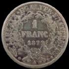 Photo numismatique  Monnaies Monnaies Françaises Troisième République 1 Franc 1 Franc Cérès 1872 petit A, G.465a TB à TTB