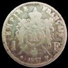 Photo numismatique  Monnaies Monnaies Françaises Second Empire 1 Franc NAPOLEON III, 1 franc 1867 BB Strasbourg, G.463 TB Lustrée!