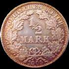 Photo numismatique  Monnaies Allemagne après 1871 Allemagne, Deutschland, Empire, Kaisereich 1/2 Mark Allemagne, Deutschland, Empire, Kaisereich, 1/2 Mark 1905 D, argent, J.16 SUPERBE+