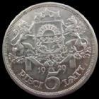 Photo numismatique  Monnaies Monnaies étrangères Lettonie, Latvia, Latvijas 5 Lati Lettonie, latvia, 5 lati 1929, KM.9 TTB+