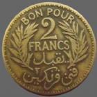 Photo numismatique  Monnaies Anciennes colonies Françaises Tunisie Bon pour 2 francs TUNISIE, TUNISIA, bon pour 2 francs 1921, LEC.292 TB à TTB