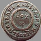 Photo numismatique  Monnaies Empire Romain CRISPUS, CRISPE, CRISPO Follis, folles,  CRISPUS, follis Thessalonique en 324, Vot X, 3,37 grms, RIC 125/C3 TTB+