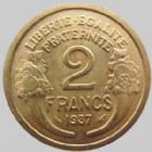 Photo numismatique  Monnaies Monnaies Françaises Troisième République 2 Francs 2 francs Morlon 1937, G.535 petites traces, SUPERBE