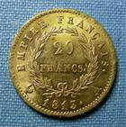 Photo numismatique  Monnaies Monnaies Française en or 1er Empire 20 Francs or NAPOLEON Ier, 20 Francs or 1813 A, Gadoury 1025 TTB+