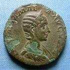 Photo numismatique  Monnaies Empire Romain JULIA MAMEE, JULIA MAMEA, IULIA MAMEA Sesterce, sesterz, sestertius, sestertio JULIA MAMEE (julia mamea) sesterce frappé à Rome en 228, Cohen 10 TTB (éclats de patine)