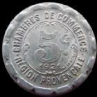 Photo numismatique  Monnaies Monnaies de nécéssité Region Provencale 5 Centimes REGION PROVENCALE, chambres de commerce, 5 centimes aluminium, 1921, 23 mm, E.10.6 SUPERBE