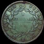 Photo numismatique  Monnaies Monnaies étrangères Espagne, Spain 10 Réales Espagne, Spain, Ferdinand VII, 10 réales 1821 R.S.D Séville, 13,20 grms, KM.560.4 TTB