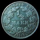 Photo numismatique  Monnaies Allemagne après 1871 Allemagne, Deutschland, Empire, Kaisereich 1/2 Mark 1/2 Mark 1913 F, J.16 TTB+