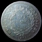 Photo numismatique  Monnaies Monnaies Françaises Cinquième république 50 Francs avers du 20 Francs 50 Francs hercule 1974 avers de la 20 francs, G.882a petites traces sinon SUPERBE