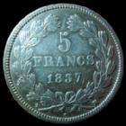 Photo numismatique  Monnaies Monnaies Fran�aises Louis Philippe 5 Francs LOUIS PHILIPPE I, 5 francs 1837 MA Marseille, G.678 TTB