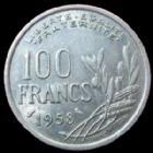 Photo numismatique  Monnaies Monnaies Françaises 4ème république 100 francs Chouette 100 Francs Cochet 1958 Chouette, G.897 Bon TTB Rare!